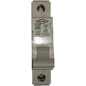 فیوز مینیاتوری تکفاز 32 آمپر تیپ C الکتروکاوه